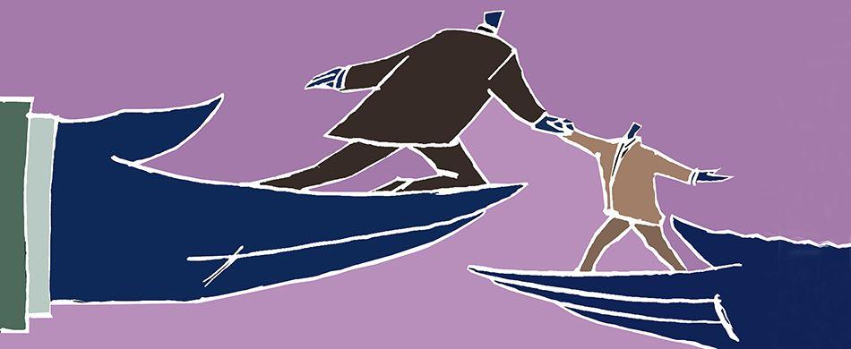 Illustrazione: due uomini di danno la mano, sorretti dalla grande mano del Signore