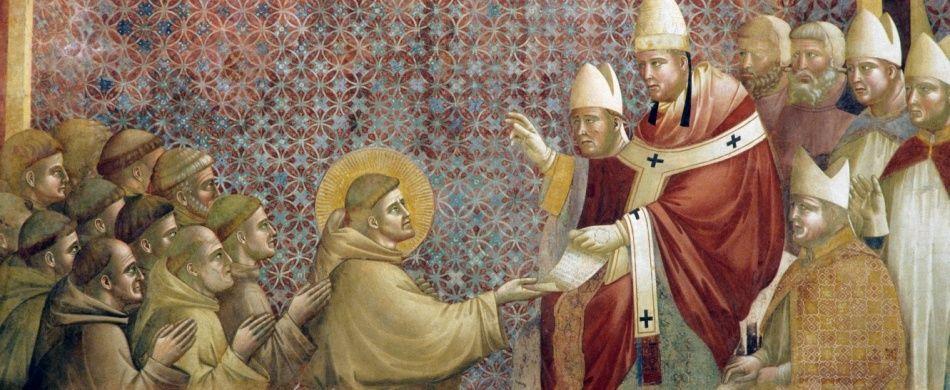 Conferma della Regola, affresco, dettaglio, ciclo di San Francesco, Giotto (ca 1267-1337), Basilica Superiore di San Francesco, Assisi.
