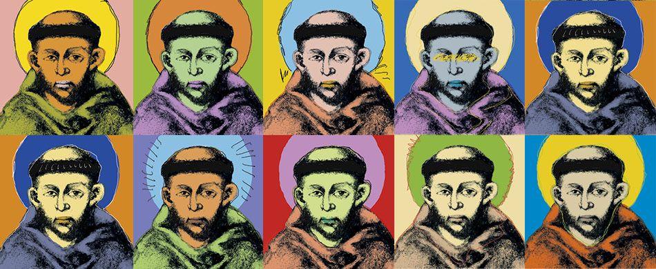 Un inedito  san Francesco, così com'è raffigurato in un famoso affresco di Cimabue, ma rivisitato alla maniera dell'artista pop contemporaneo Andy Warhol.