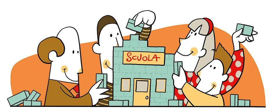illustrazione con attori della scuola che cooperano