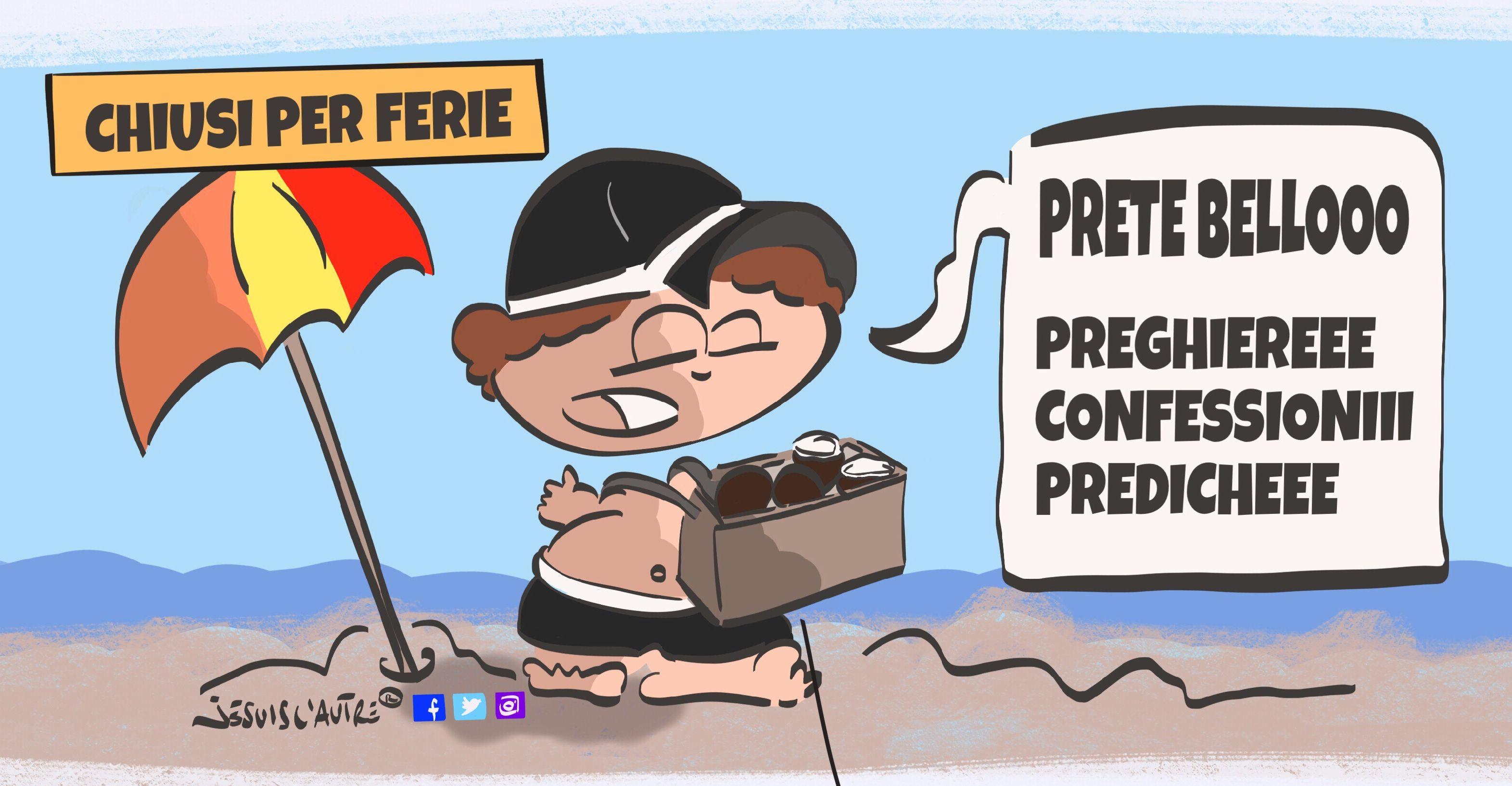 illustrazione, in spiaggia un prete si offre per confessare al modo dei venditori di cocco