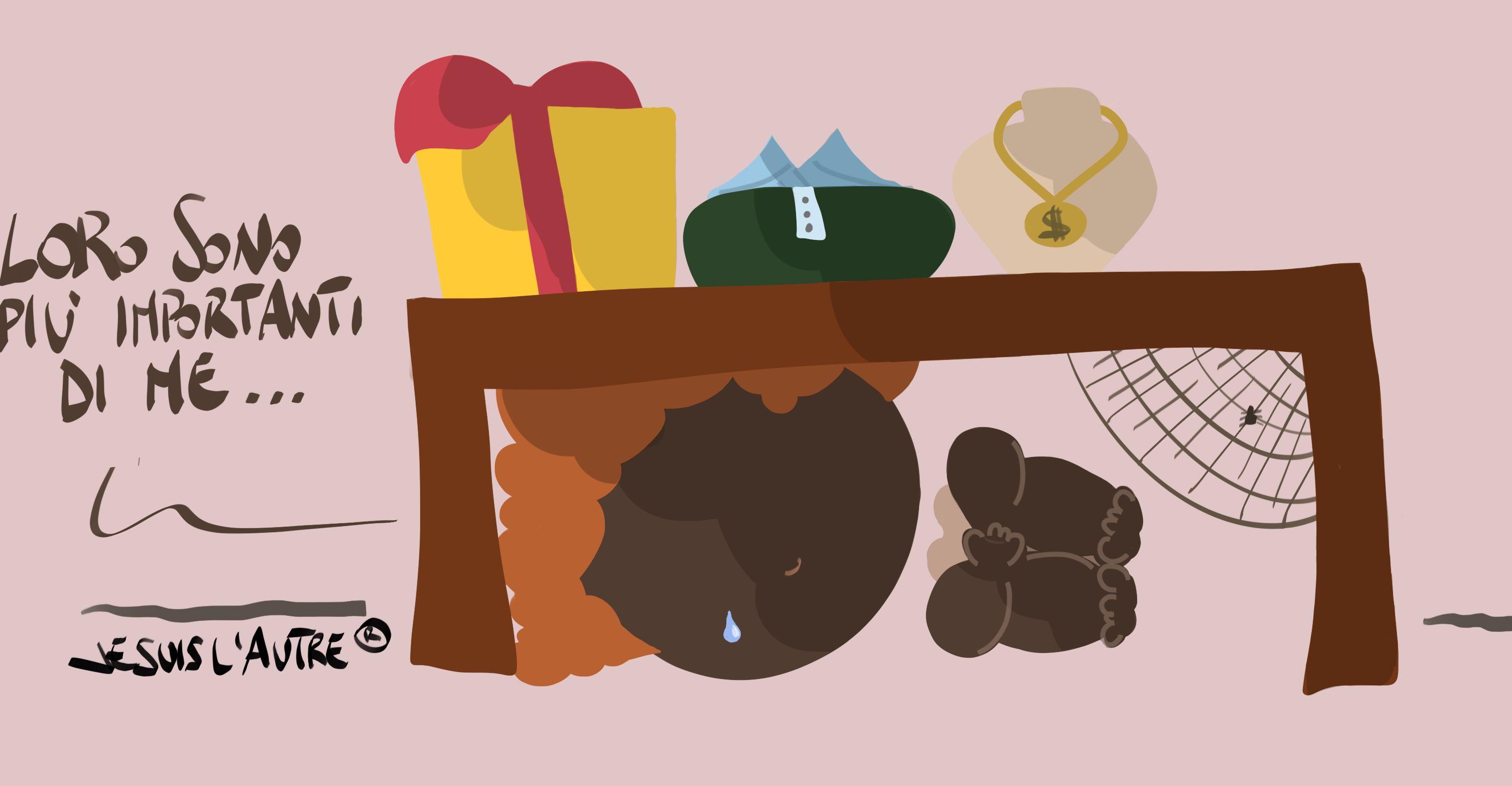 Illustrazione: 'loro sono più importanti di me' dice un povero guardando una vetrina con regali lussuosi
