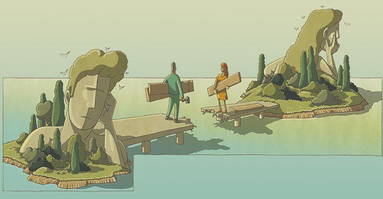 illustrazione, due coniugi costruiscono un ponte per colmare la distanza tra loro