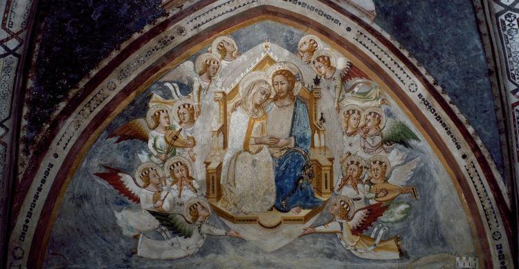 Assunzione di Maria in cielo (XIV secolo), affresco, Monastero di San Benedetto a Subiaco (Roma).