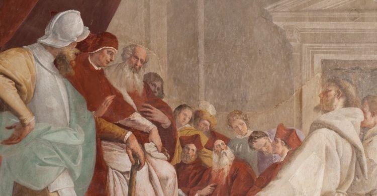 Pier Francesco Mazzucchelli, detto il Morazzone, San Francesco ottiene l'indulgenza da papa Onorio III, affresco, XVII secolo, Sacro Monte di Orta, Orta San Giulio (NO).