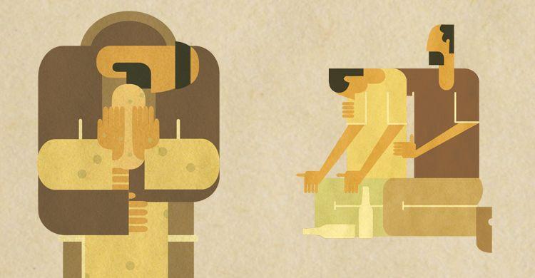 Illustrazione: san Francesco incontra il lebbroso; fra Gianluca incontra il povero